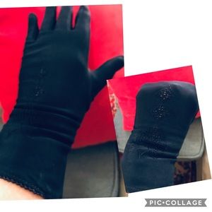 40's navy rayon day dress gloves by Monotex